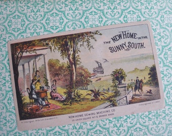 Vintage / Antique Trade Card  Boston US 1880s - The New Home Sewing Machine Co - advertisement - sewing collectible - paper ephemera