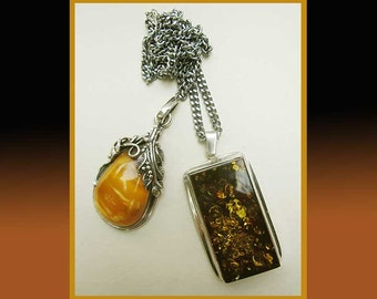 What's Your FANCY-Two Sterling Silver Amber Pendants,One Ornate,One Minimalist,One Chain,Vintage Jewelry,Women
