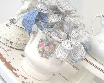 Vintage French Beaded Flowers * Blue & White * Royal Copley Vase