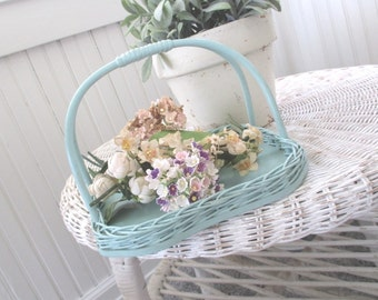 Vintage Wicker Basket * Shabby AQUA Cottage * Old Farmhouse