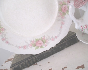 Vintage Plates * Johnson Bros. * Shabby Cottage Chic * Pink Roses * Two Dinner * One Saucer