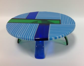 Cake Stand In Fused Glass, Blue, White, Green and Cobalt Blue