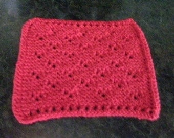 Hand Knit Red Dishcloth - measures approximately 8x81/2 inches