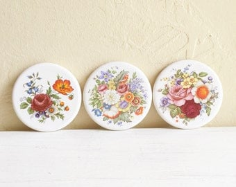 Set of 3 Vintage Floral Ceramic Coasters White with Flowers