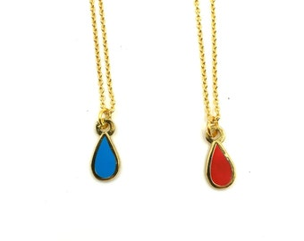 """Tiny Teardrop Necklace on 18"""" Gold plated Chain"""