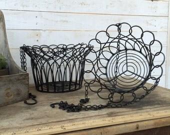Metal Hanging Basket, Iron Wall Decor, Distressed, Fruit Basket, Plant Holder, , Farmhouse Hanging Basket, Gift for Mom