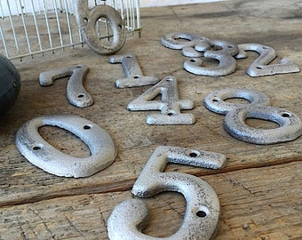 Metal House Numbers,  Iron Decor, Cast Iron Numbers, Anthropologie Decor, Classic Numbers, Wedding Numbers, Silver and Black Deco