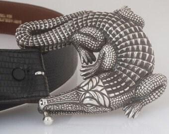 Barry Kieselstein Cord GRAND Alligator Belt Buckle with LONG Lizard Belt