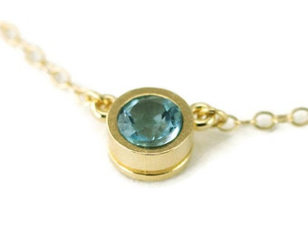 14k Gold Aquamarine Necklace - Small Gold Solitaire Pendant - Choose Your Stone