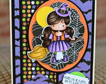 Halloween Witch Handmade Greeting Card