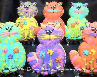 Cat Cookies - Crazy Cat Cookies - 12 Cookies