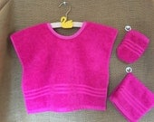 Montessori Apron Set in Hot Pink Terrycloth (for Practical Life and Water Activities)
