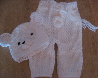 polar bear hat and pants set - hand knit - photo shoot prop - gift - newborn to 6 months sizes - boy girl unisex - made to order