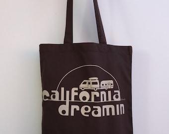 California DREAMIN Camper Eco-Friendly Market Tote Bag - Hand Screen printed (Ships FREE!)