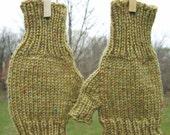 Dark Gold Tweed Half Mitts - Size Average
