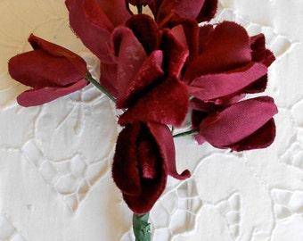 Burgundy Velvet Velour Flowers