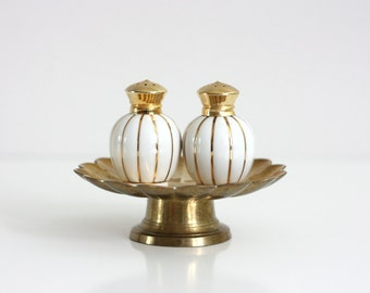 Mid Century Gold and White Striped Salt and Pepper Shakers by Irice