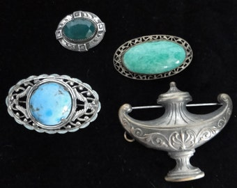 Four Beautiful Vintage Pins for Crafters and Repurposers