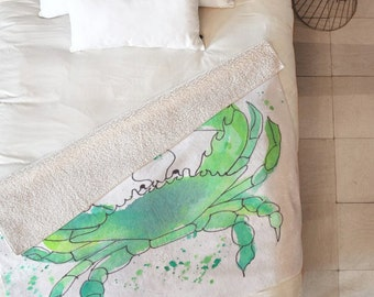 Seafoam Green Crab Sherpa Throw Blanket