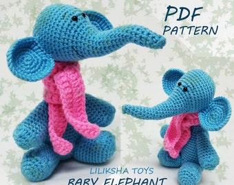 Crochet toy Amigurumi Pattern - Baby Elephant