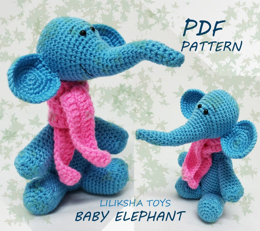 Free Easy Crochet Patterns For Baby Toys : Crochet toy Amigurumi Pattern Baby Elephant