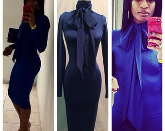 Knee Length Bodycon Dress with Bow, Bodycon Dress, Long Sleeve Fitted Dress