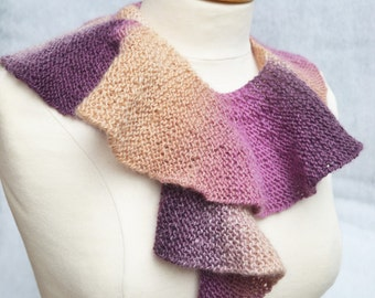 Hand knitted scarf scarflette lariat purple lilac coffee colors wool blend
