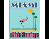 Miami Pink Flamingo Art Print, Retro Miami Art,  Art Deco Print, Beach Art, Florida Art, Colorful Art
