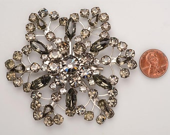 "Large 1940's Prong set Rhinestone Brooch - 3 1/4"" square - light smokey grey, darker grey, and white SNOWFLAKE pattern"