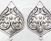 30x21x5mm Antique Silver Finish Base Metal Earring Components, Connector Links or Pendants - Qty 2 (G377)