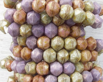 8mm Faceted Opaque Lumi Luster Color Mix Vintage Cut Czech Glass Beads - Qty 20 (BW75)