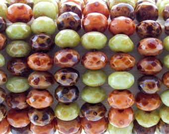 5x3mm Faceted Opaque Autumn Leaves Picasso Mix Firepolish Czech Glass Rondell Beads - Qty 30 (BS445)