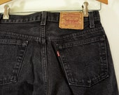 Vintage BLACK LEVI'S 501 xx w29 l30 Made In USA red tab 80's denim blue jeans