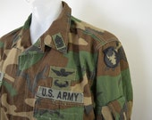 on sale Vintage U.S. ARMY Air Crew Coat Woodland Camouflage size large with patches