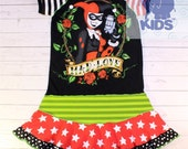MAD LOVE - a dress made out of authentic Harley Quinn tee -   super cool funky recycled upcycled  pieced  size 12