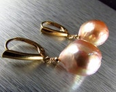 BIGGEST SALE EVER Chinese Kasumi  Pale Peach Pearl Lever Back Earrings