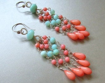 Coral and Blue Peruvian Opal Wire Wrapped Dangle Earrings