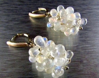 25% Off Summer Sale Moonstone And Sterling Silver Cluster Earrings
