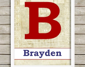 Boys Wall Art, Baseball Theme Nursery, Baby Boy Nursery Decor, Custom Name Print, Personalized Boy, Vintage Style Sports Letter Wall Art