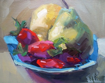 """Impressionist Fruit Still Life Oil Painting, Pears, Strawberries, 8x10x1.5"""" Original Oil on Gallery Wrap Canvas"""