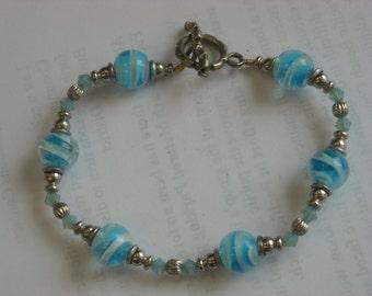 glass, crystal beads bracelet  ( A 45 )