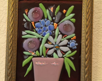 Framed fused glass Matisse style flowers vase purple pink still life wall art plaque