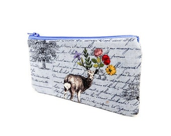 Small Romantic Pouch, Zipper Pouch, Deer Pouch, Fabric Pouch, Floral Pouch, Boho Pouch, Small Pouch, Gift for Her, Deer with Floral Antler