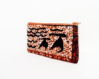 Small Fabric Pouch, Zipper Pouch, Fabric Pouch, Pouch, Barkcloth Pouch, Coin Purse, Change Pouch, Small Zipper Case, Tribal Pouch, Case