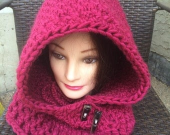 Raspberry Hooded cowl HC/2/16