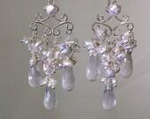 CUPID SALE xOx Bridal Jewelry Pearl Wedding Chandelier Earrings, Wire Wrap Sterling Silver, Handmade Chandelier Earrings, Luxury Bridal Earr