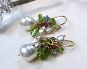 CUPID SALE xOx Peridot Pearl Cluster Earrings Blue Zircon Wire Wrapped Gold Fill Wedding Earrings Drop Earrings August Birthstone Gemstone C