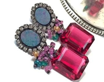 Australian Black Opal Earring, Sapphire Gemstone Cluster, Diamond Bezel Style, Pink Tourmaline Quartz Earrings