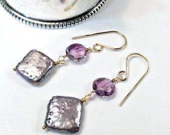 SUPER SALE 60% OFF Lavender Pearl Earrings Lavender Gem Cluster Earrings Handmade Sterling Silver Square Pearl Earrings