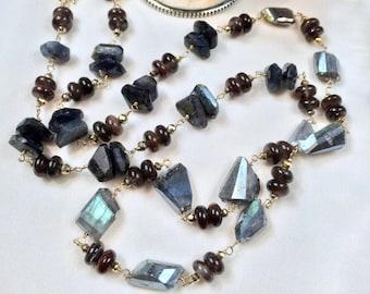 Wire Wrap Necklace Long Gemstone Labradorite Chocolate Brown Tourmaline 14kt Gold Fill Long Necklace Mystic Labradorite Necklace